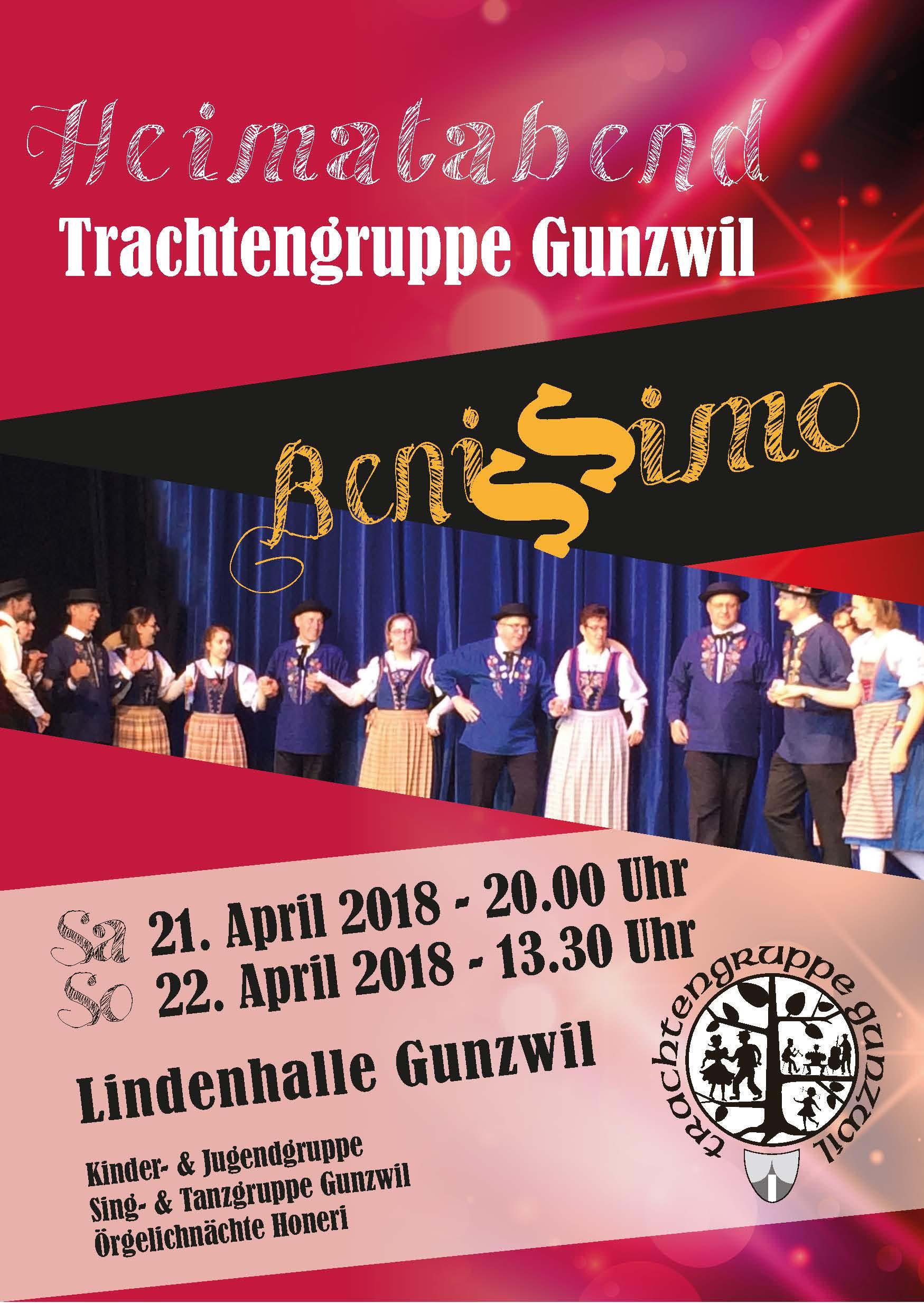 Flyer Heimatabend Trachtengruppe Gunzwil 21. und 22. April 2018