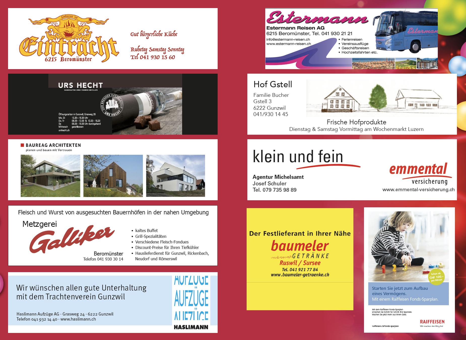Sponsoren Heimatabend Gunzwil-2018